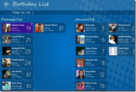 Windows 8 birthday reminder app
