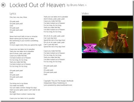 Windows 8 lyrics apps