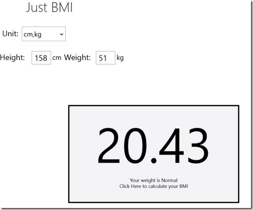 BMI calculator Windows 8 app