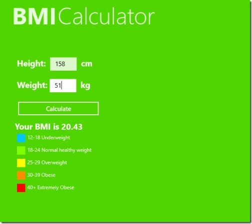 Windows 8 BMI Calculator apps