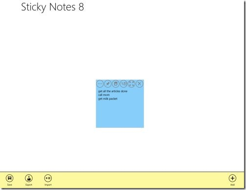 sticky notes Windows 8 app