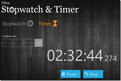stopwatch Windows 8 app