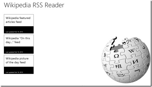 Wikipedia RSS Reader app for Windows 8