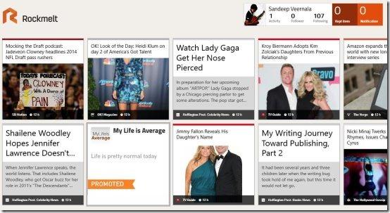 rockmelt app news homepage