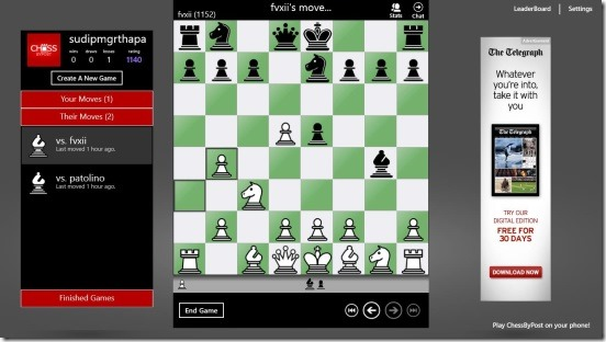 Chess By Post- game play