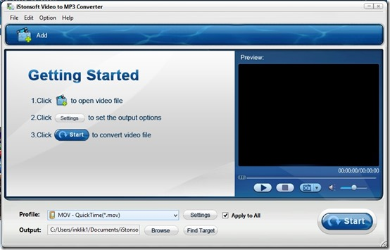 IStonsoft Video to MP3 Converter- Main Screen