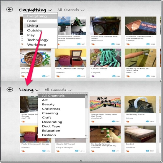 Instructables- Various Categorization