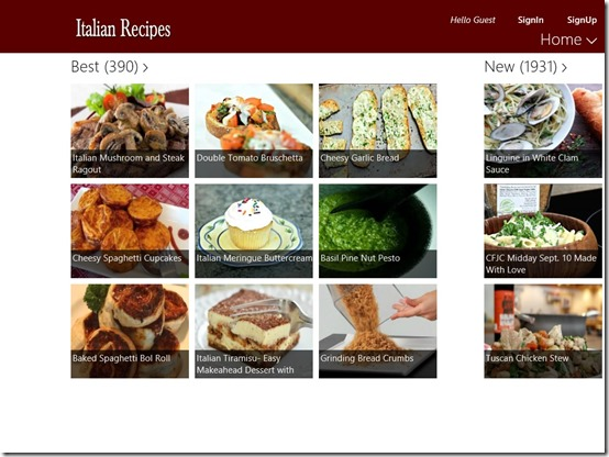 Italian Recipes- Windows 8 Recipe App - Main Screen