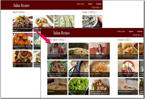Italian Recipes- Windows 8 Recipe App - Recipes under Best category