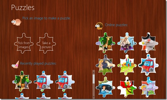 Puzzles- Main Screen