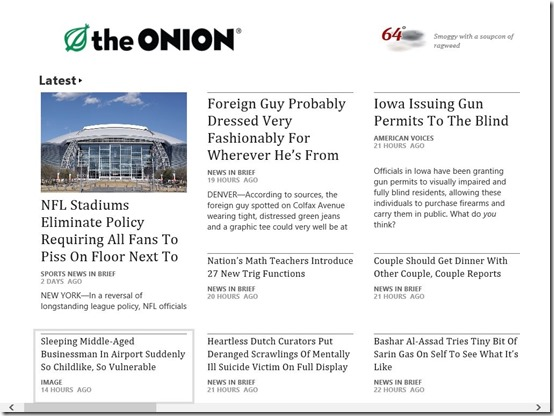 The Onion-Main Screen