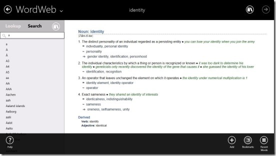 Windows 8 Dictionary App To Find Word Meanings, Synonyms