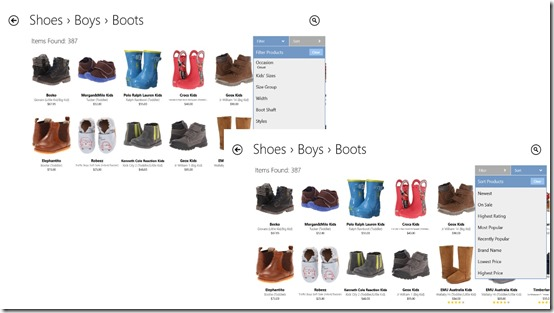 Zappos.com- Filter and Sort your results