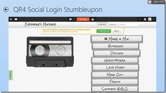 QR4 Social Login- Access account functionality same as Browser