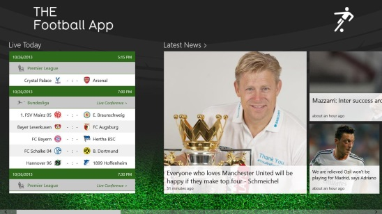 THE Football App - main screen