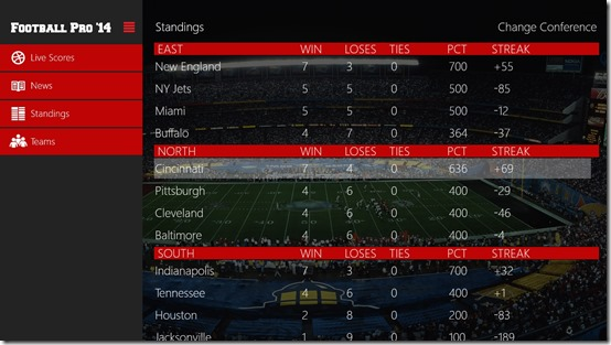Football Pro - Standings