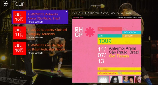 Red hot chili peppers hub- Tour Info
