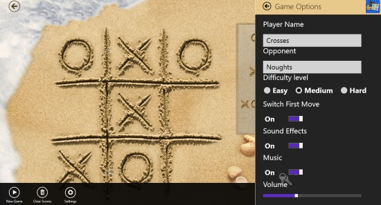 Tic Tac Toe- settings