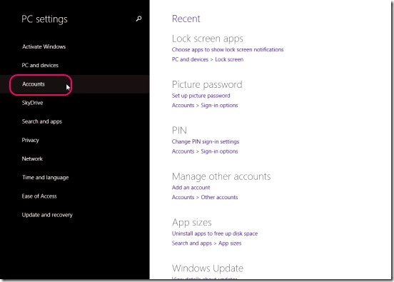 Windows 8 Tutorial - Accounts toggle