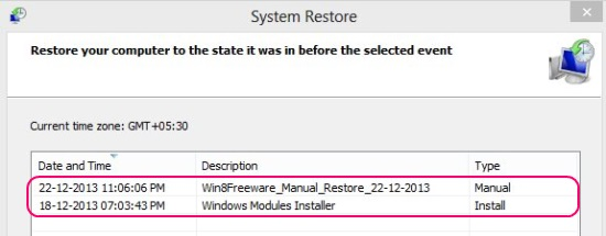 Available Restore Points