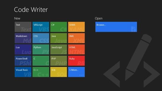 Code Writer - Language Selection Screen
