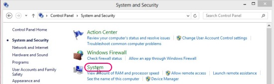 System and Security window