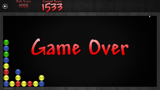 Bubble Breaker Game Over