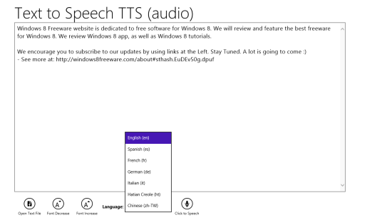 Text to Speech TTS Language Options