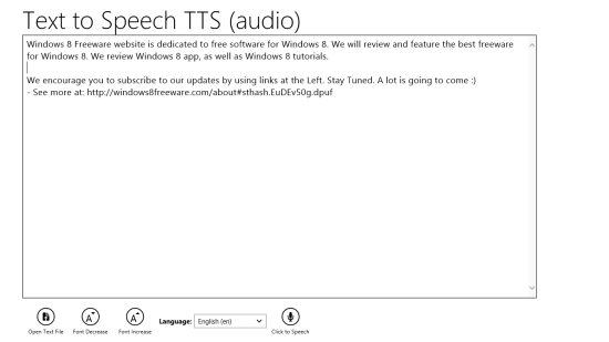 Text to Speech TTS Main Screen