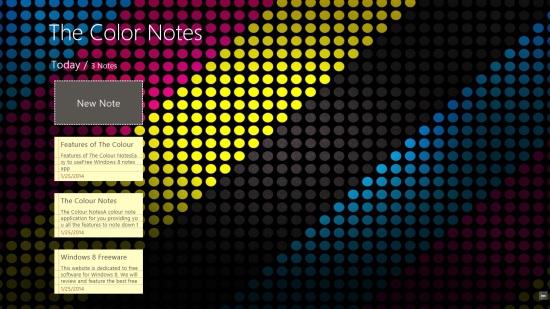 The Colour Notes - Main Screen
