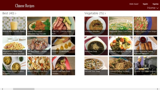 Chinese Recipes - Main Screen