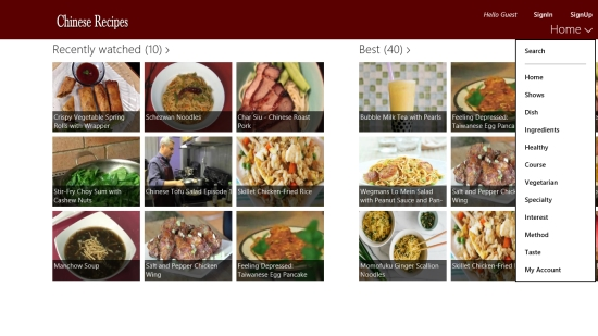 Chinese Recipes - Top Menu Filters