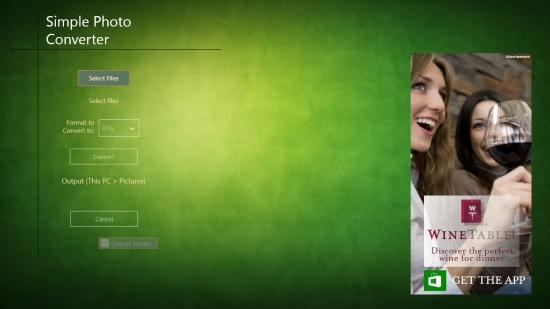 Simple Photo Converter - Start Screen