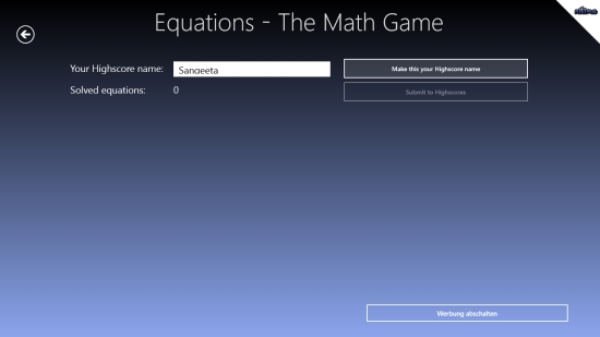 Equations -The Math Game - Creating Highscores account