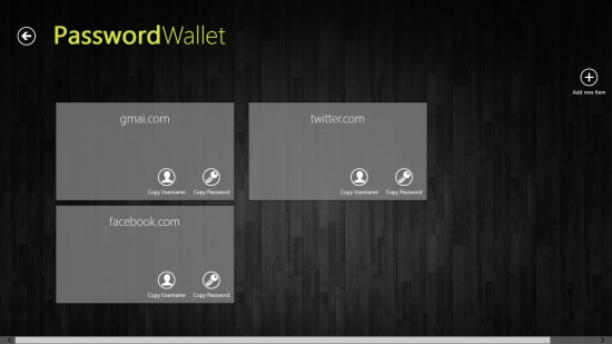 PasswordWallet - Main Menu