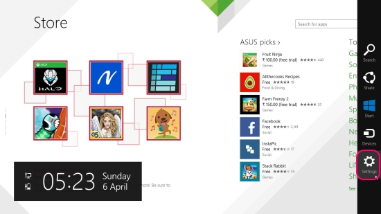 Charms Bar in Windows Store
