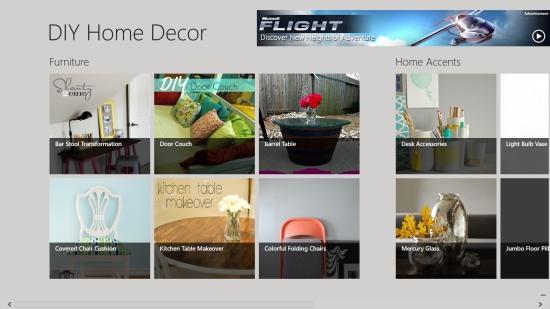 DIY Home Decor - Start screen