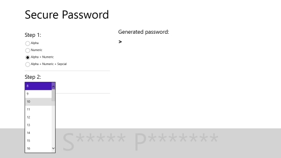 Secure Password - Selecting password strength