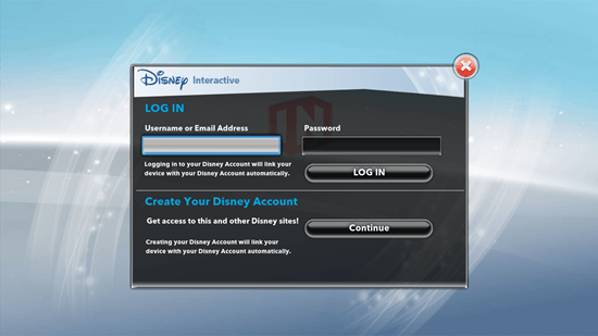 Disney Infinity: Toy Box - Login Screen