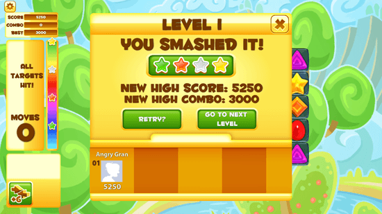 Jelly Smash with Angry Gran - Results