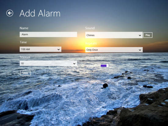 Windows 8 Alarm Clock App With Real-Time Weather Updates