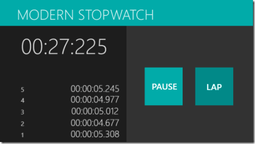 Modern Stopwatch: Free Stopwatch App for Windows 8 With Lap