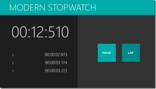 Modern Stopwatch - Running With Lap Times