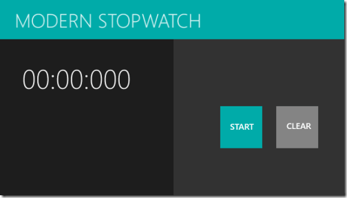 Modern Stopwatch - Start Screen