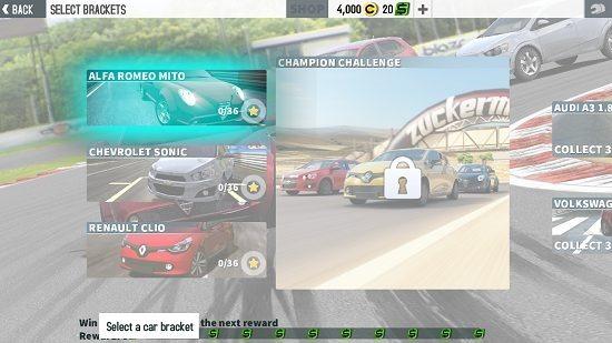 GT Racing 2 race brackets_levels