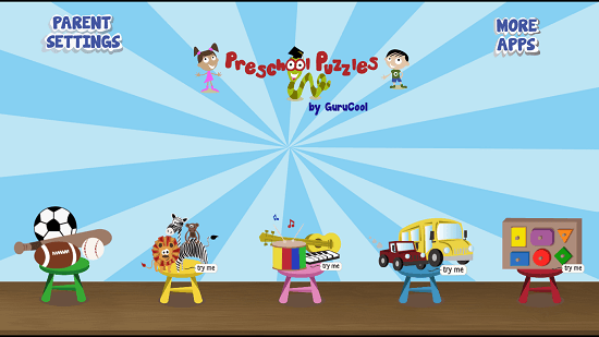 PreSchool Puzzles - Educational games for kids main screen