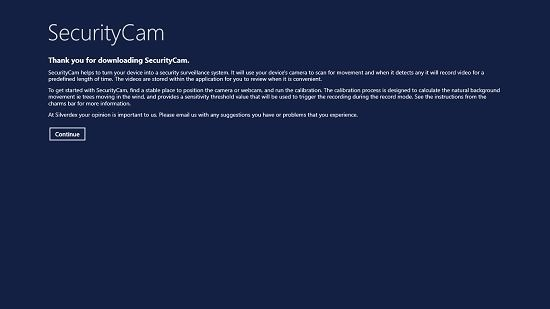 SecurityCam Main Screen