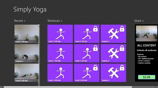 Simply Yoga Main Screen