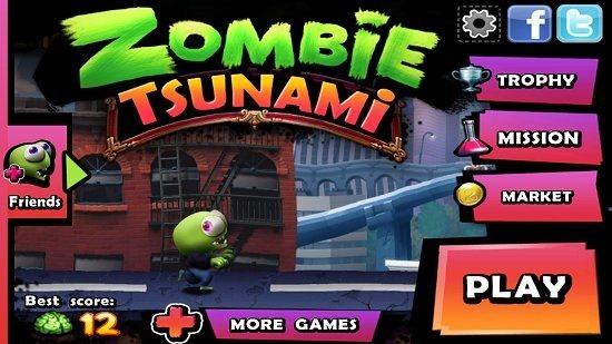 Zombie Tsunami Main Menu