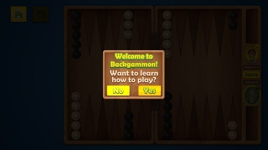 Backgammon Deluxe Main Screen